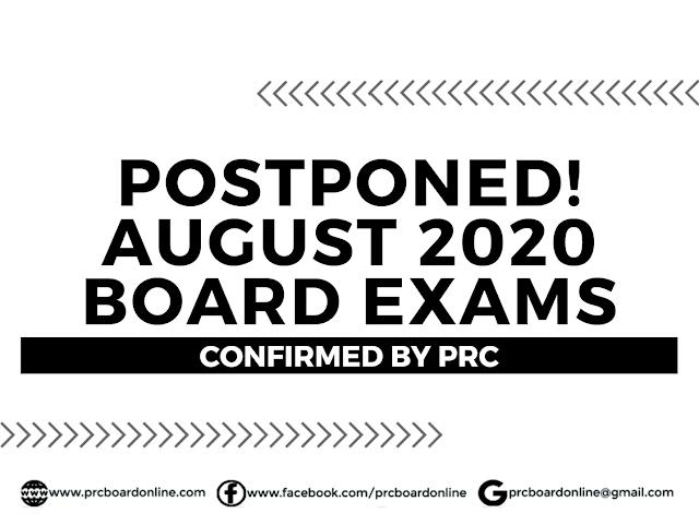 Postponed! August 2020 PRC Board Exams
