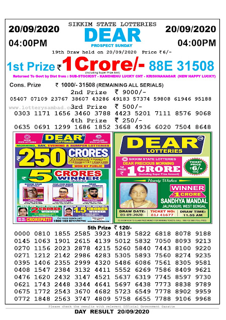 Lottery Sambad Result 20.09.2020 Dear Prospect Sunday 4:00 pm