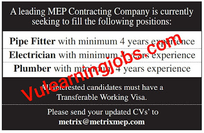 Leading MEP Contracting Jobs 2020 In Qatar For Pipe fitter, Electrician, Plumber Latest