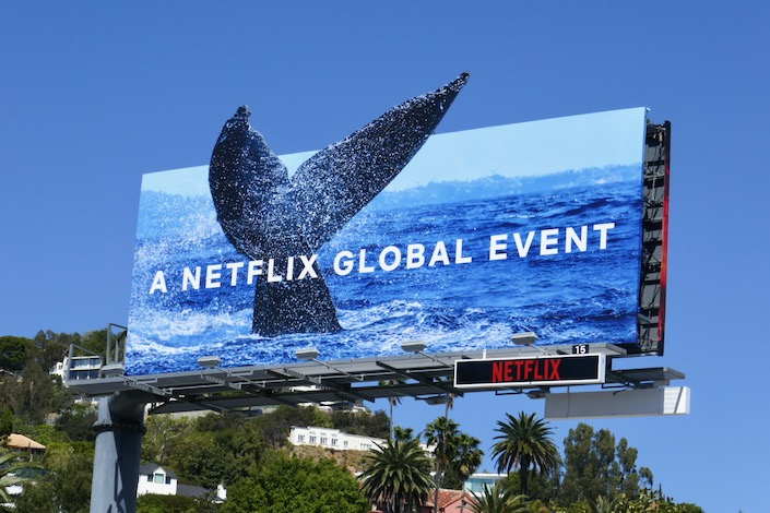 Whale tail Our Planet billboard