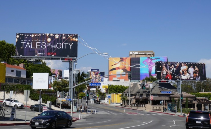 Tales of the City lanterns billboards Sunset Strip daytime