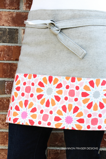 Grey linen bistro apron with colorful pocket panel | 7 Handmade Mother's day gift ideas | Shannon Fraser Designs