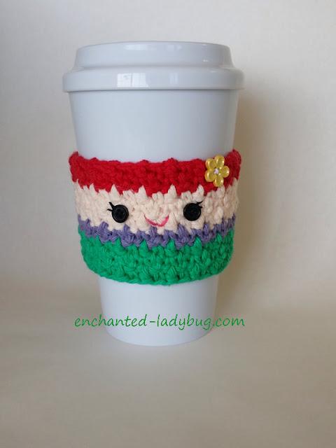 Free Crochet Ariel Coffee Cup Cozy Pattern