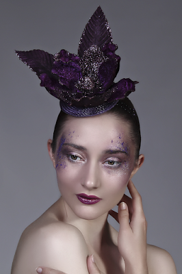 Mystic Magic, Hunger Games, Fashion, Avant Garde, couture, creative makeup, photography, photo, futuristic fashion, ascot head wear, headpiece, royal ascot, inspirational, creative, high fashion, glitter, purple, floral
