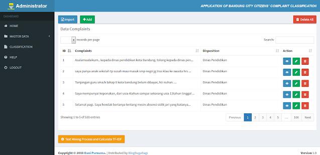 PHP Metode Cosine Similarity & TF-IDF Klasifikasi Pengaduan Masyarakat