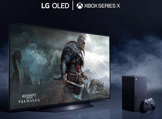 Xbox Series X console and LG OLED TV
