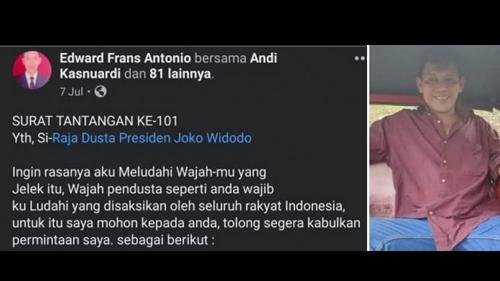 Pria di Cilegon Tantang dan Ingin Ludahi Presiden Jokowi