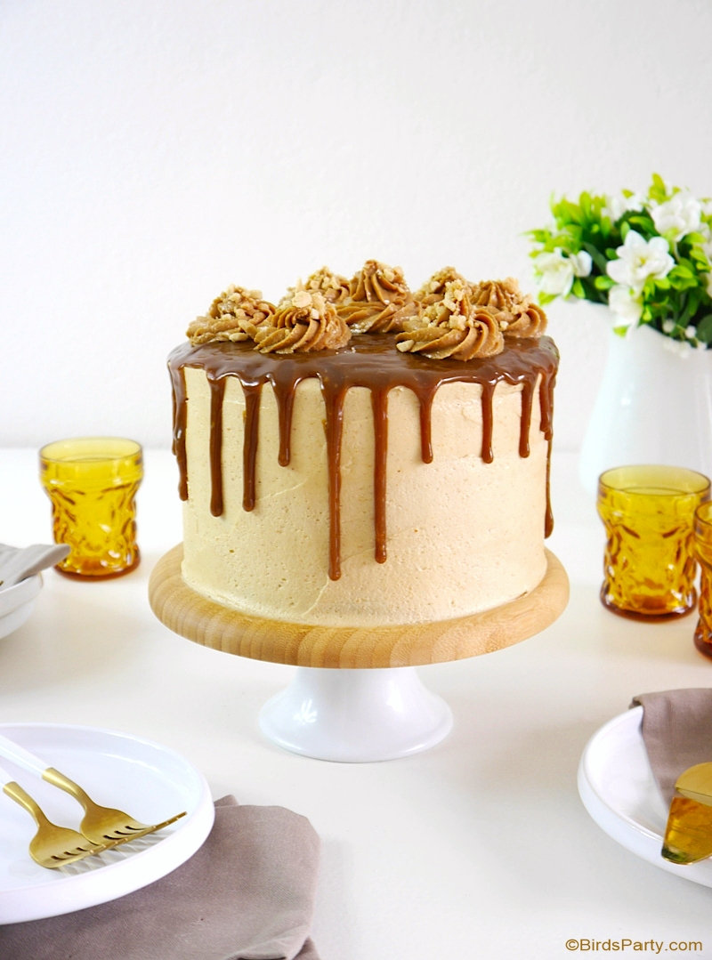 Peanut Butter Celebration Cake - This Peanut Butter Celebration Cake is so easy to make, it's the perfect dessert for peanut butter lovers and is ideal for any party or event! by BirdsParty.com @birdsparty #cake #cakerecipe #peanutbutter #peanutbuttercake #peanutbutterrecipes #recipes #drizzlecake #dripcake #layercake #peanutbutterlayercake #peanutbutterfrosting
