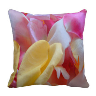 Pink rose petals throw pillow