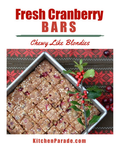 Fresh Cranberry Bars ♥ KitchenParade.com, a chewy almost-blondie molasses and spice bar with bursts of juicy cranberry, topped with a scattering of sugar snow. No mixer required.