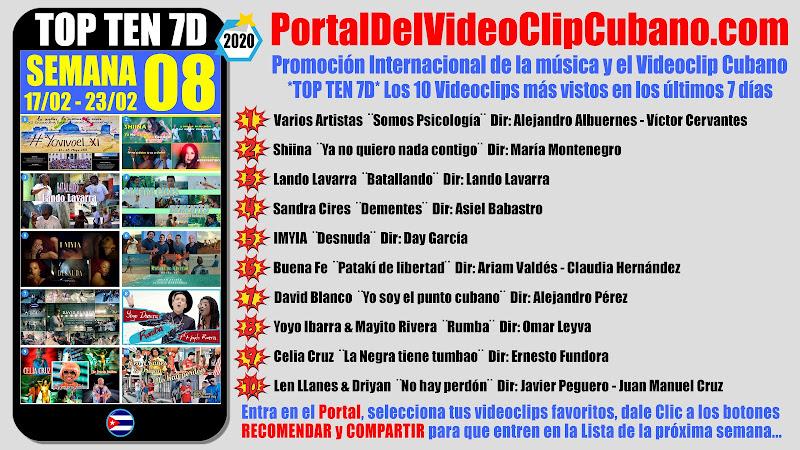 Artistas ganadores del * TOP TEN 7D * con los 10 Videoclips más vistos en la semana 08 (17/02 a 23/02 de 2020) en el Portal Del Vídeo Clip Cubano