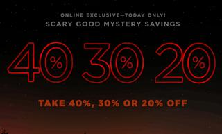 Kohls Mystery Saving 40/30/20% OFF 10/23/2016