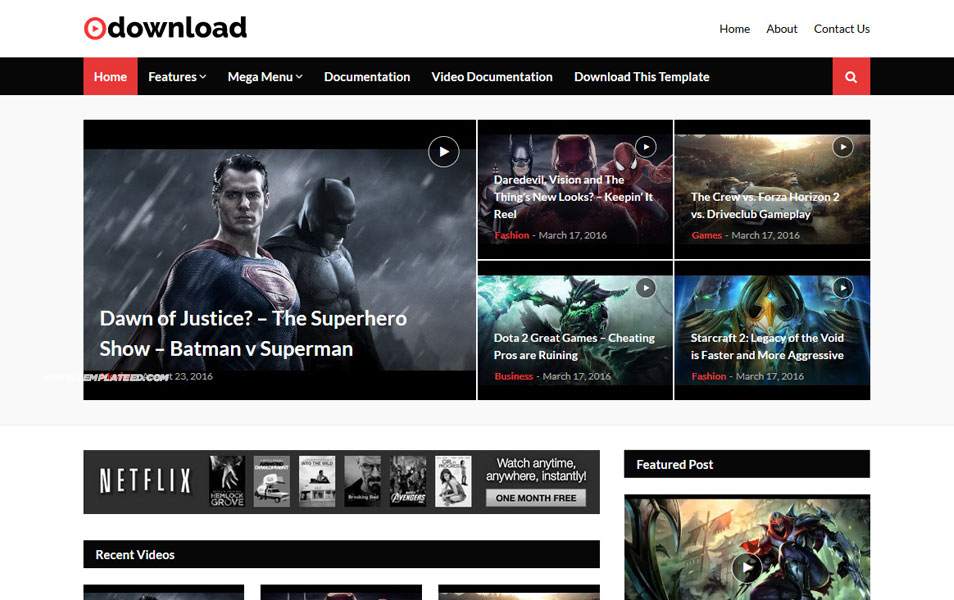 Video Download Responsive Blogger Template