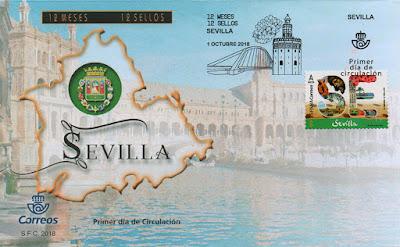 Sobre PDC del sello dedicado a Sevilla, Filatelia