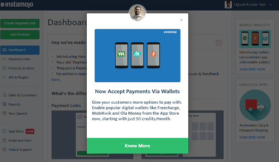 wallets payment, instamojo new feature