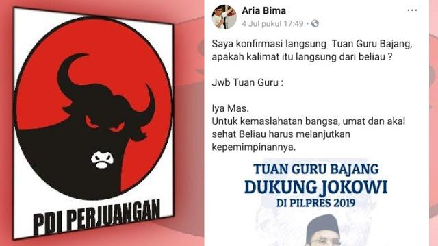 Umat Kecewa, PDIP Bergembira TGB Dukung Jokowi 2 Periode