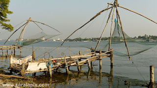 Chinese fishing nets at vypin made fully of teak wood