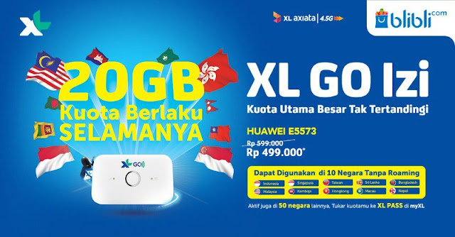 #BliBli - #Promo XL GO IZZI Paket 20GB Kuota Berlaku Selamanya (s.d 27 Feb 2019)