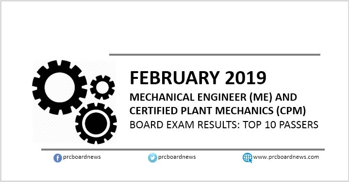 Top 10 Passers List: February 2019 Mechanical Engineer ME, CPM board exam result