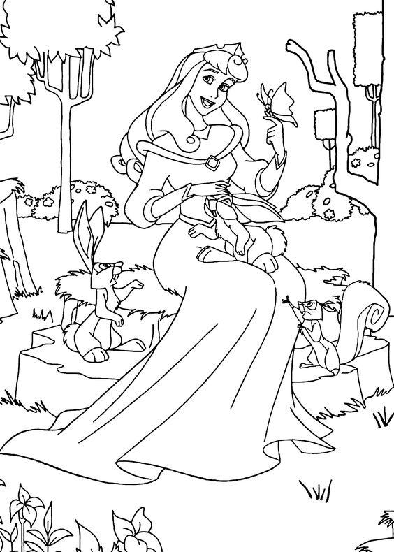 Tranh tô màu nàng công chúa ngủ trong rừng 01