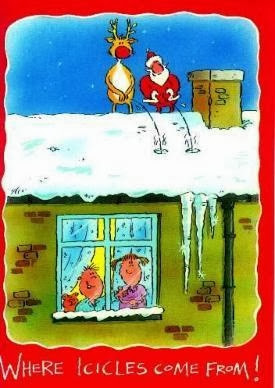 Hilarious Christmas Santa Reindeer cartoon picture - Where icicles come from