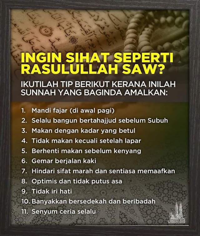 11 Tips Sihat Cara Nabi s.a.w