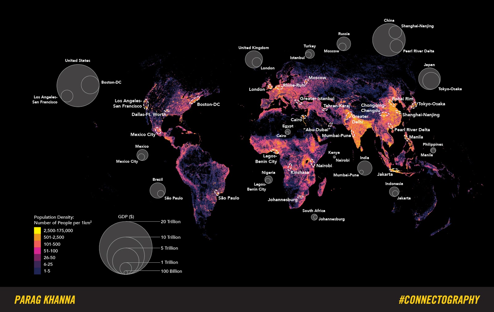 Megacity Regions of the World (Population density & GDP)