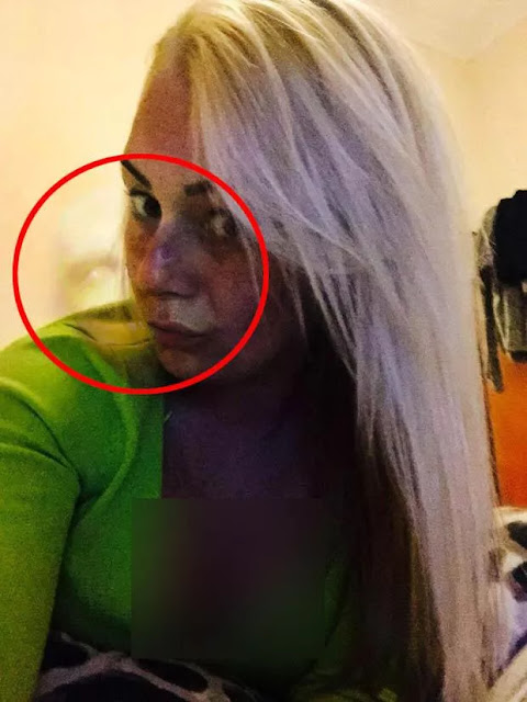 Unexpectedly, an invisible creature appears on the shoulder of this British woman