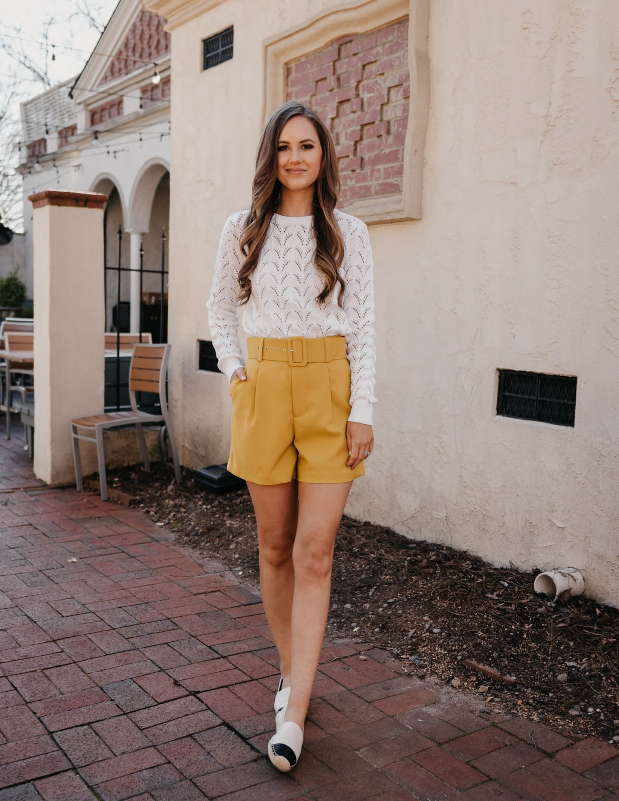 Pointelle sweater, high waist shorts, Chanel Espadrille dupes, spring outfit
