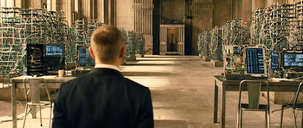 James Bond waits for Javier Bardem's Silva in Skyfall.