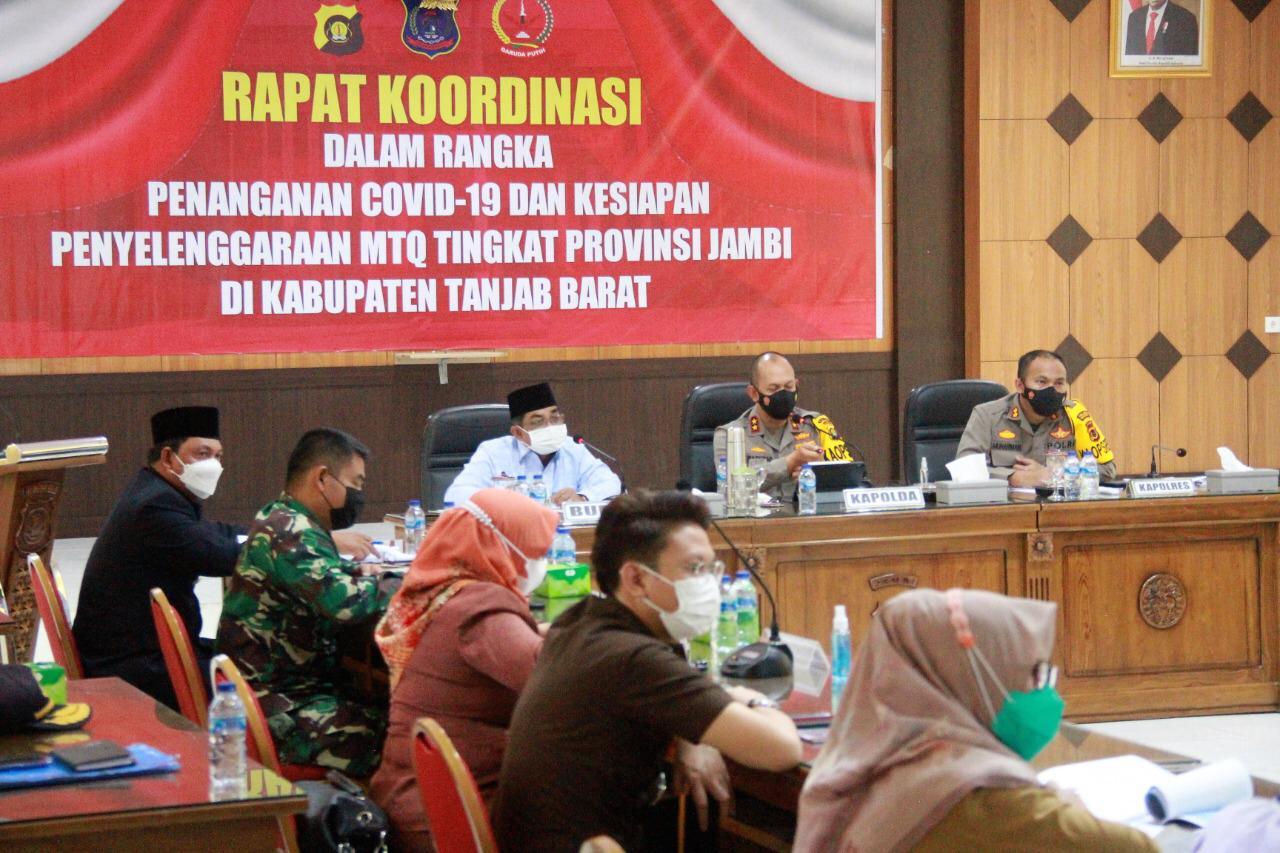 Bupati Tanjabbar Rakor Penangan Covid-19 dan Kesiapan Penyelenggaraan MTQ Ke-50 Tingkat Provinsi Jambi