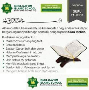 Lowongan Kerja Guru Tahfidz di Ibnul Qayyim Islamic School