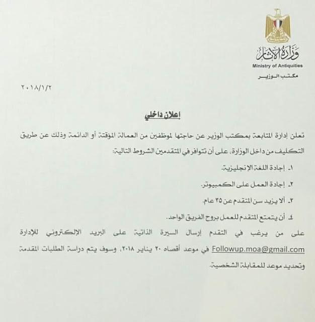 وظائف وزارة الآثار ٢٠١٨ تعرف على الشروط وموعد التقديم