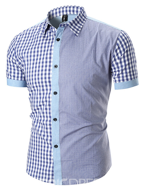 Ericdress Lapel Plaid Patchwork Mens Loose Short Sleeve Shirt