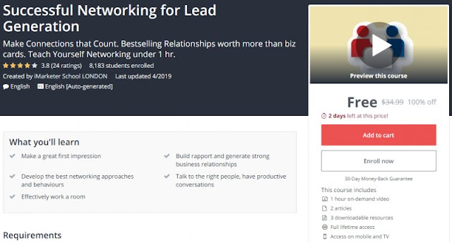 [100% Off] Successful Networking for Lead Generation| Worth 34,99$