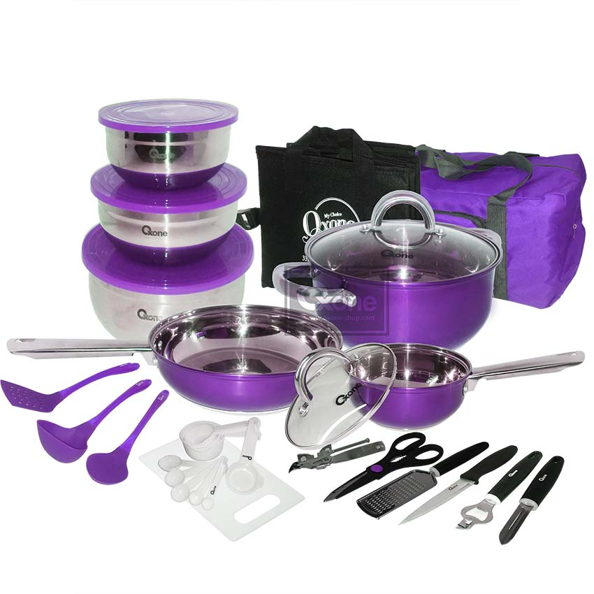 OX-993 33Pcs Panci Oxone Travel Cookware Set - Ungu