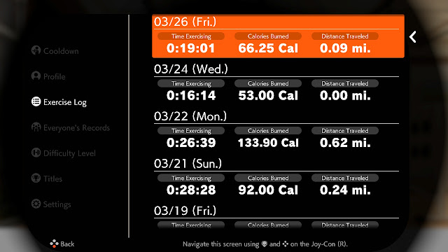 Ring Fit Adventure Week World 33 Extra Fitness Lv. 211 exercise log