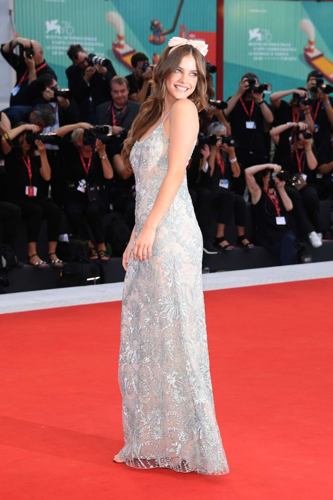 Barbara Palvin Sports Elegant Embroidered Gown at 'Joker' Venice Premiere
