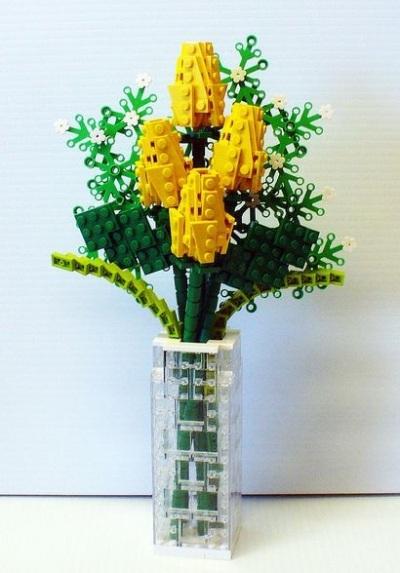10. Bunga hias dari rangkaian lego