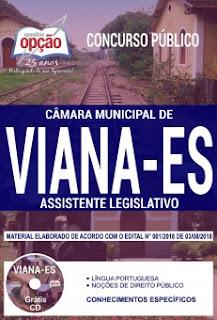 Apostila da Câmara de Viana 2018 Assistente Legislativo