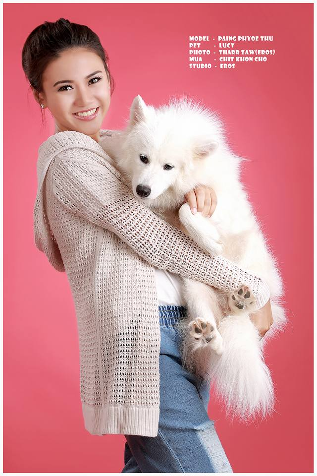 Paing Phyo Thu - Cute Studio Photoshoot With Little White Puppy Lucy