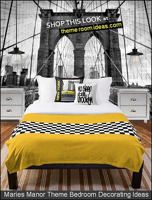 New York Themed Bedroom decorating ideas - city themed decor - urban bedroom ideas - City theme bedroom ideas