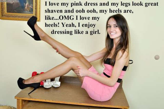 I love my Pink Dress - Sissy TG Caption