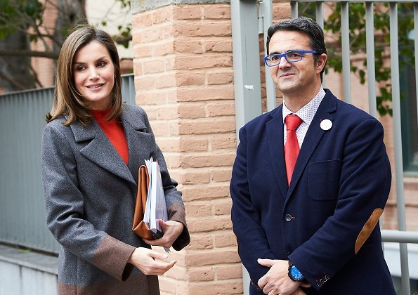 Queen Letizia wore HUGO BOSS Colorina Wool Blend Cashmere Striped Coat and Uterque shoes