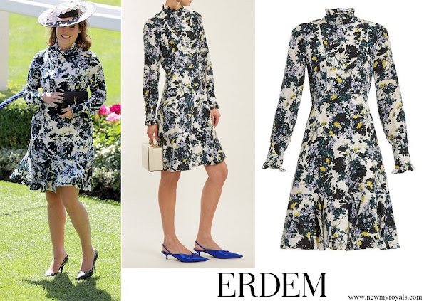 Princess Eugenie wore ERDEM Bernette floral print silk crepe de Chine dress
