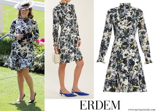 Princess Eugenie wore ERDEM Bernette floral print silk crepe de Chine dress
