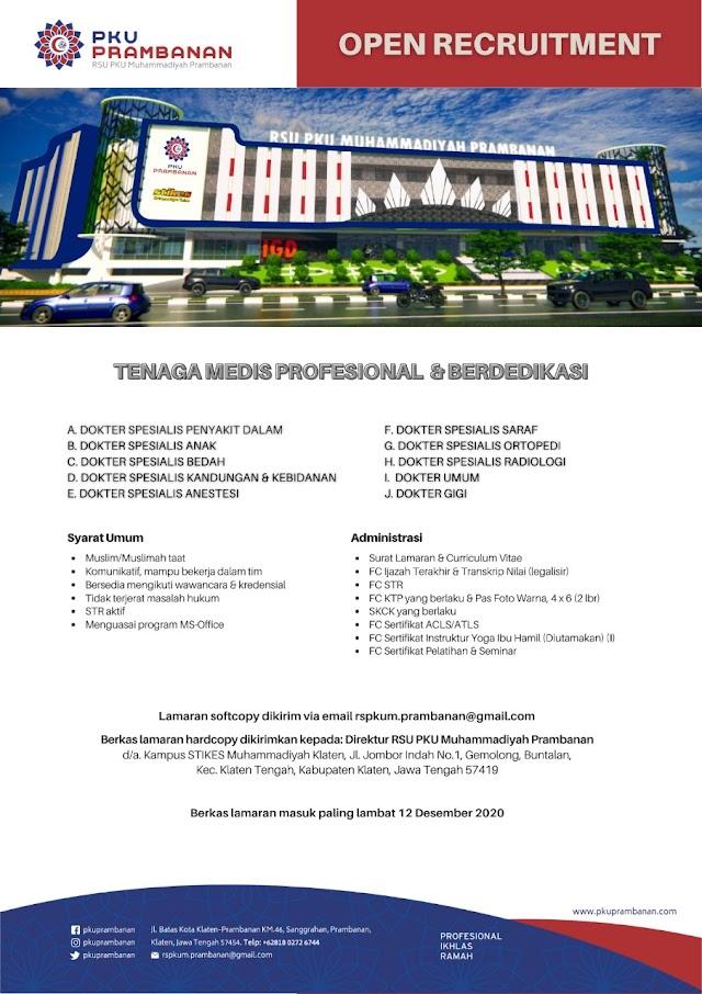 Loker Dokter RS PKU Muhammadiyah Prambanan Klaten, Jawa Tengah (Berkas Lamaran Terakhir 12 Desember 2020)