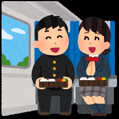 電車で旅行している人達のイラスト(学生)
