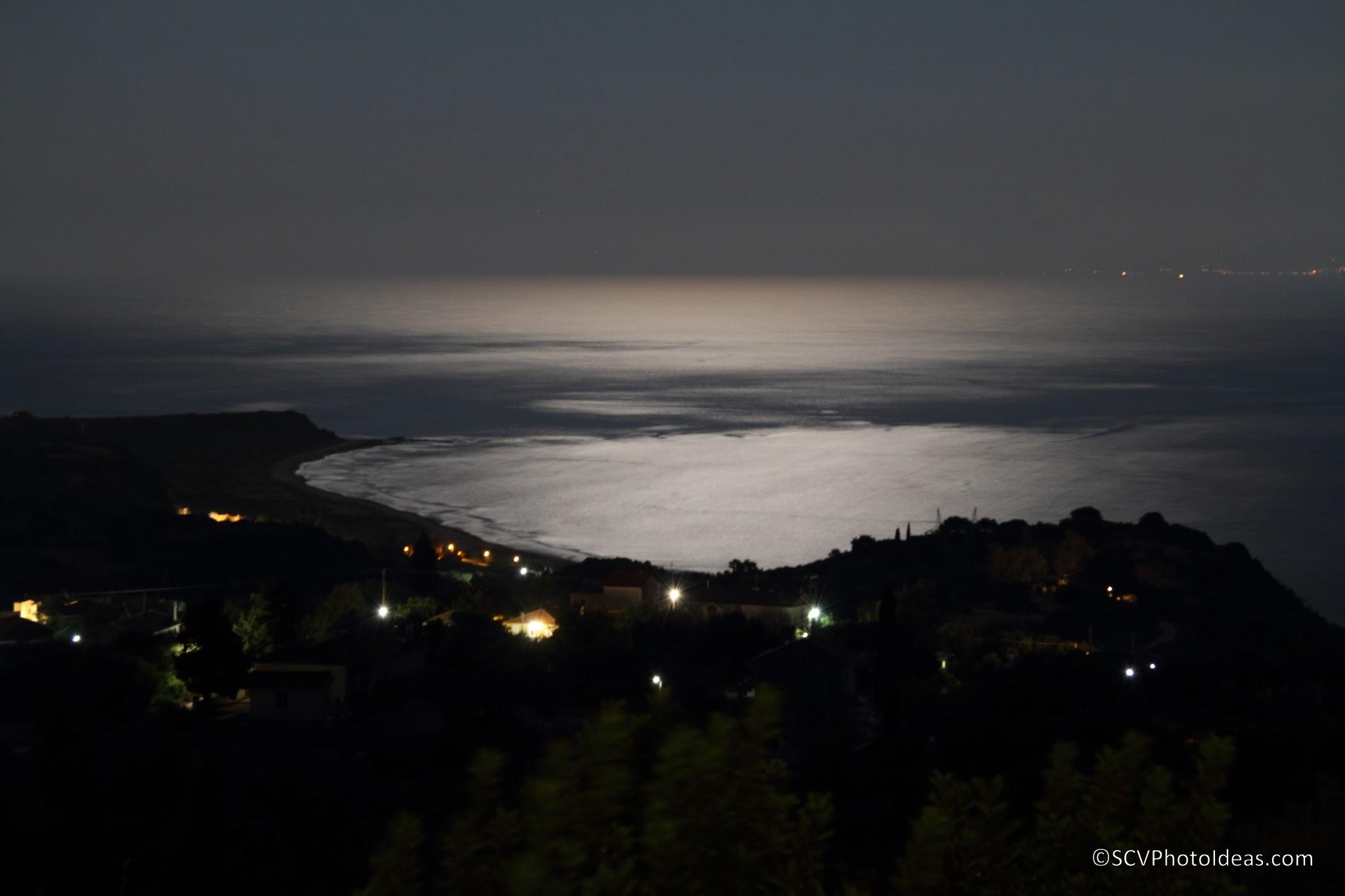 Full moon over cape Mounda, South Cephalonia closeup 2014