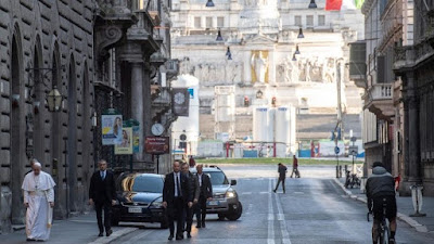 Hành hương của Đức Giáo Hoàng trên đường phố Rôma tới Đền thờ Đức Bà Cả và Nhà thờ Thánh Marcello